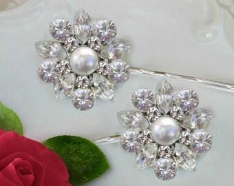 White Pearl, wedding Hair Pin, Bridal Hair Clips, Crystal Bobby Pins, Bridesmaids hair clip, Bridesmaids gifts, Bridal hair pins