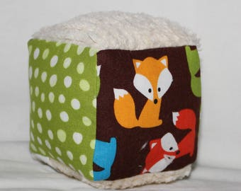 Small Brown Foxes and Chenille Fabric Block Rattle