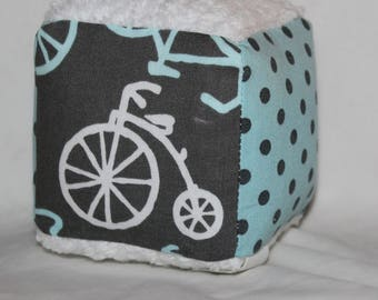 Small Blue Bicycles Fabric Block Rattle Toy