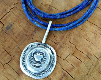 Ancient Greek  Coin Pendant, Lapis, silver and  ancient coin necklace , Ancient coin Jewelry, Cancer horoscope , multis trand neck;ace
