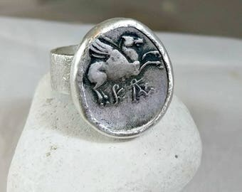 Ancient Greek Pegasus Ring,  Silver ancient coin Statement Ring , Chunky silver coin ring,  Ancient coin Jewelry