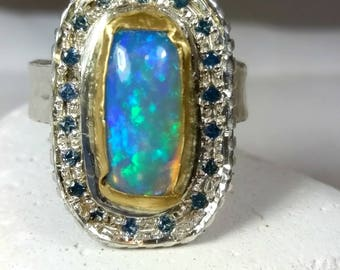 Opal ring, Multi stone ring, Opal and Sapphire Statement Ring, Blue Sapphire, opal and silver, 22 kt yellow gold ring, engagement ring