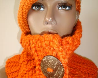 Orange Cowl Scarf Crocheted - Orange Neckwarmer - Scarf- Cowl- matching hat- Orange MultiScarf - Orange Blend Crochet Hat
