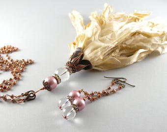 Sold custom order for Alesia Copper Bohemian Recycled Vanilla Sari Silk Tassel Detachable Pendant Long Necklace #recycledsarisilk