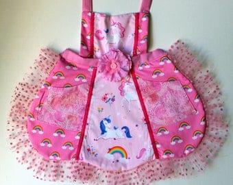 Happy Pink Unicorns Apron,  toddler apron, girls apron
