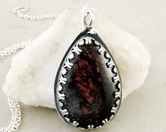 Fossilized Dinosaur Bone necklace, Sterling Silver, Pear shape gemstone, Fossil jewelry