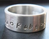 Sterling Silver Ring Band - 8mm wide -Size 8-Hand Stamped Ring-Personalized Ring-Personalized Band-Silver Ring-Sterling Ring-Sterling Silver