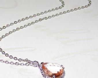 20% OFF Pink Crystal Teardrop Necklace, Peach, Champagne Necklace, Bridal Necklace, Bridesmaid Jewelry
