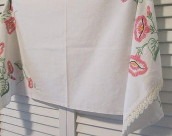Vintage Embroidered Cotton Dresser Scarf - Morning Glory Handwork - White With Pink and Green