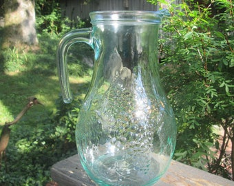Vintage Pale Green Glass Pitcher - Green Glass Juice Pitcher - Grapes/ Grape Leaves - 1980s Glassware