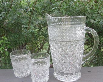 Large Vintage Wexford Pitcher and Two Glasses - Wexford Glass Pitcher and Small Glasses - Anchor Hocking Wexford Glassware