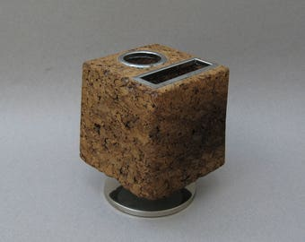 Rotating Cork Pencil Holder 1970s Modern Park Sherman Desk Accessory Cork Memo Holder Pen Holder