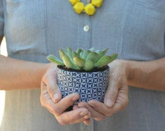 Succulent Planter, Small Plant Pot, gray Succulent Planter, geometric planter, polymer clay plant pot, indoor planter, housewarming gift