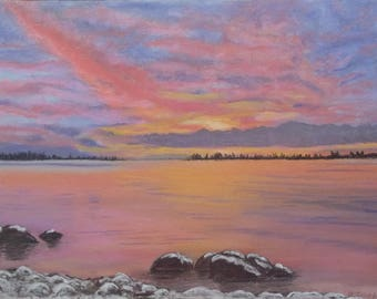 "Original pastel painting ""Daybreak on Amherst Island Number Thirteen "" 8"" x 11"" neither mat nor frame are included"