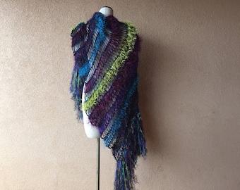 Jewel Tone Shawl Knit Fashion Scarf Womens Scarf Accessories Scarf Shawl Scarf Wrap Purple Teal Chartreuse, Navy Blue Lime Green Dark Shawl