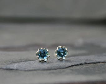 Faceted London Blue Topaz Stud Earrings, Solid Sterling Silver Posts and Earring Backs, Prong Set Gemstones, Post Gemstone Topaz Earrings