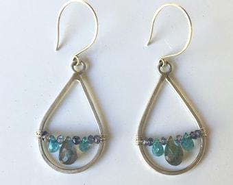 Canyon Bridge Earrings - Labradorite, Apatite & Iolite Sterling Silver Chandelier Earrings