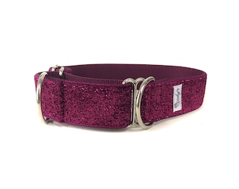 Wide 1 1/2 inch Adjustable Buckle or Martingale Dog Collar in Hot Pink Glitter