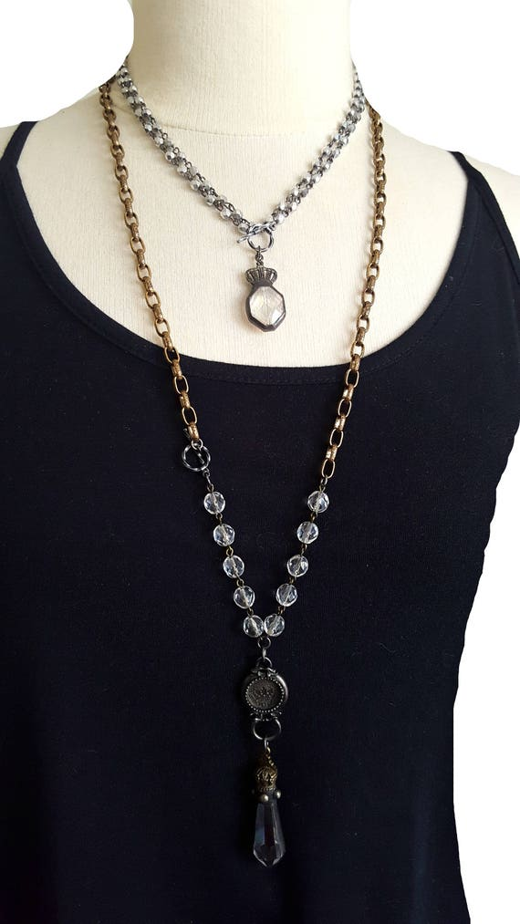 Long Crystal Pendant Necklace Lead Crystal Antique Gold