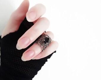Gothic Ring Gothic Jewelry Black Knuckle Ring Victorian Ring Silver Midi Ring Filigree Black Swarovski Crystal Ring