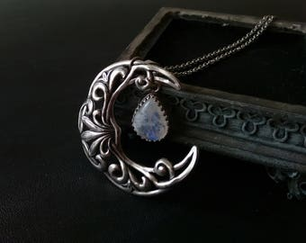 Wiccan Jewelry Witchy Jewelry Moonstone Necklace Crescent moon Pendant Large Silver Necklace Celestial Celtic Fantasy Necklace