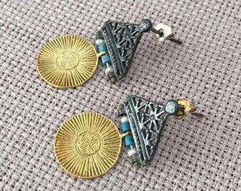 Tribal Afghan Silver earrings, Turkish jewelry, Gold plated Pearll, Turquoise earring