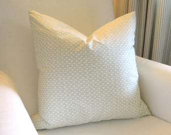 High Point Pillow Cover, Kravet, Light Green, Ivory, Accent Pillow, 18x18, Toss Cushion