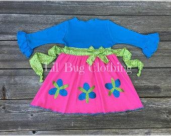 Poppy Troll Costume Dress, Poppy Troll Birthday Party Dress, Poppy Troll Birthday Party Outfit, Poppy Troll Halloween  Costume