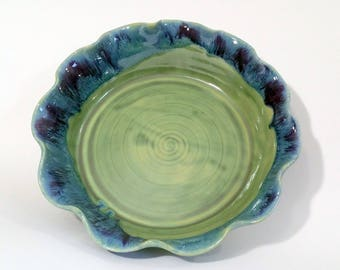 Fluted Pie Pan - Brie Baker - Small Pie Pan  - Chicken Pot Pie Pan for One - Wheel Thrown Pottery - Green, Purple and Blue