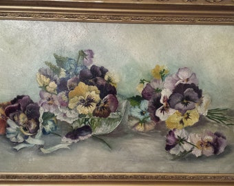 Antique Pansie Oil Painting Early 1900s Original Frame
