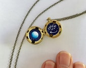 Once in a Blue Moon Locket - Birthmark Sale on Blemished Metal Lockets - Hand-painted in Oil Enamel