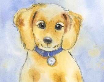 Children's Dog Nursery Art - Yellow Puppy Dog Art Print - Year of the Dog Wall Decor - Puppy Wall Art - Lab Puppy Art