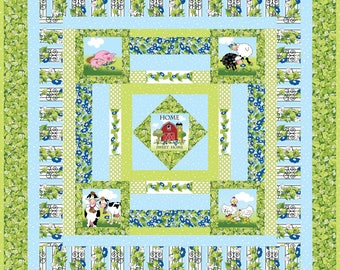 Farm Animal Quilt using a 5 Piece Set of Fabric Art Panels