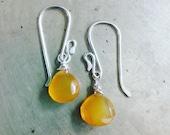 Dainty Little Honey Drops Earrings Saffron Yellow Chalcedony Gemstone