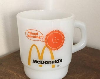 SALE Vintage Fie King McDonalds Good Morning Milk Glass Mug Coffee Cup