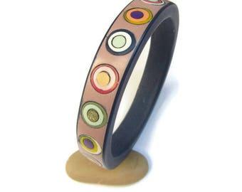 Rainbow Bracelet, Colorful Bracelet, Polymer Bracelet Boho, Gift Under 40, Blue Bracelet Pink, Unique Bracelet Boho, Circles Bracelet