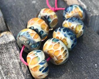 Lampwork Beads - Boro Beads - Tan and Blue Two Tone