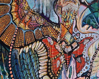 Chrysalis - Archival Giclee Print - Dawn Patel Art - visionary painting, contemporary art, moth, phoenix, rebirth, original art