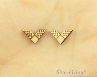 6pcs Wooden Chevron Charm / Pendant, DIY Laser Cut Mini Blank Wood Charm, Perfect for Earring  - HWD512Q