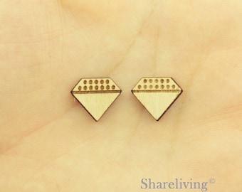 6pcs Wooden Diamond Charm / Pendant, DIY Laser Cut Mini Blank Wood Charm, Perfect for Earring  - HWD512E