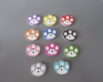 Dog Paw wooden  Buttons X 5