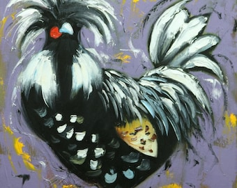 Rooster 874 18x18 inch original animal portrait oil painting by Roz