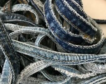 Reclaimed Denim Blue Jean Seams for Repurposing