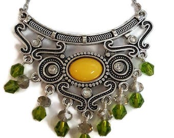 Scroll Bib Necklace - Yellow and Green