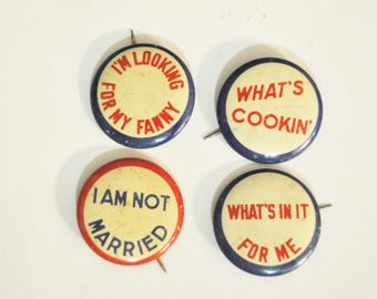 Vintage Pinback Buttons   Tin Lithographed Joke Pin Backs  1930s Tin Pinback