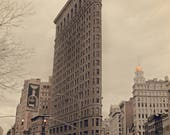 sepia NYC, yellow taxi, NYC taxi photo, sepia NYC art, sepia taxi, yellow taxi print, large New York print, nyc canvas, flatiron building