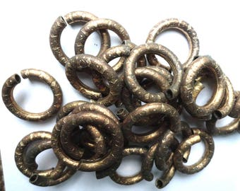 28 Very Unusual Vintage Brass Tubes with Embossed Design, Almost 40mm Round, 5-6mm, LOTS of Patina