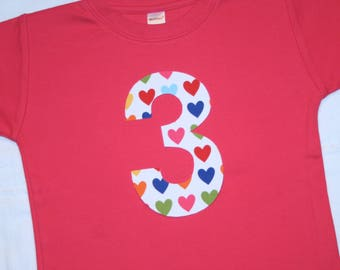 Girls Third Birthday Shirt Number 3 Shirt in rainbow hearts - Size 4 short sleeve dark pink shirt