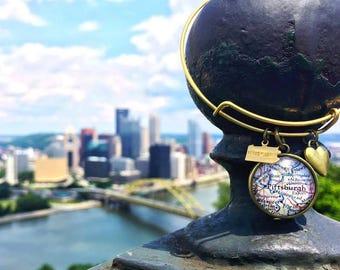 Pittsburgh Bracelet - Pittsburgh Map Bracelet - Pittsburgh Jewelry - PGH Bracelet - PGH Jewelry - Charm Bracelet - Bridesmaid Gift