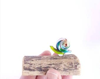 Rainbow Snail Figurine, Glass Snail and Wood Sculpture, Nature Inspired Art, House Warming Gift, Gardeners Gift,Office Decor, Gift Under 50